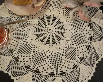 Crochet lace doily, romantic tabletopper, handmade crochet doily, elegant centerpiece, lace table accessory, bridal shower or wedding gift