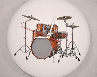 Drums art  - Wall clock made of vinyl record - Gift for drummer - 12 inch - Unique design - Musician clock - Handmade only - Home decor