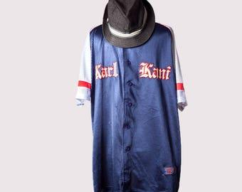 Baseball jersey•Vintage hip hop jersey•Karl Kani shirt•Hip Hop designer shirt•90s Hip hop clothing•Summer buttoned down shirt•Swag clothes