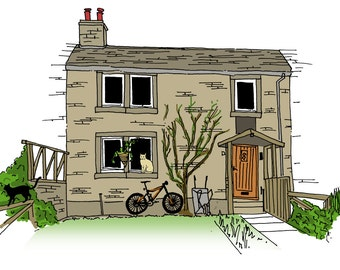 House with Two Extras of your Choice: Hand Drawn Homes