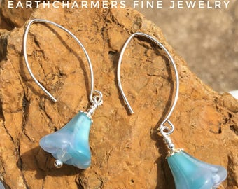 Dangle and Drop Earrings.  Vintage German Glass Flower Earrings