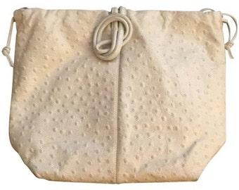 Ostrich Embossed Leather White Crossbody Bag: Susan Gail, vintage purse, white handbag, summer purse, white leather, summer handbag, white