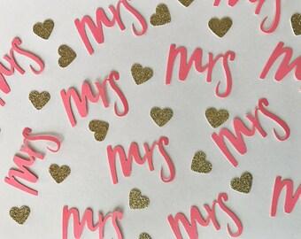 Mrs. Confetti, Bridal Shower Confetti, Wedding Confetti, Pink Confetti, Heart Confetti, Gold Glitter Confetti, Glitter Confetti, Hearts