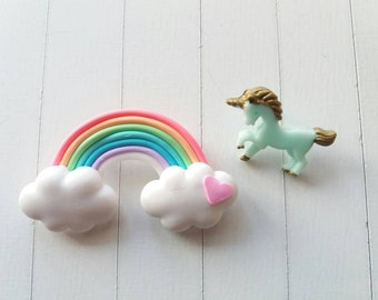 Love Rainbows and Unicorns brooch and pin