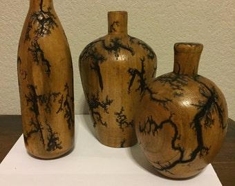 Wood bud vases (set of 3)