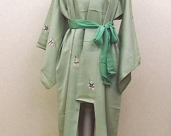 Yellow green kimono robe / vintage Japanese kimono