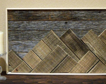 Reclaimed Wood Art- Recycled Wood- Mountain Art- Rustic Farmhouse- Shabby-