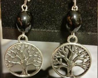 Celtic Tree of Life Earrings w/ Black Beads