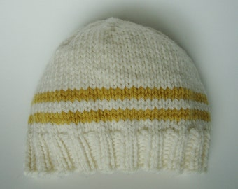 Handknit American Nontoxic Natural Merino Wool Baby Hat Beanie - 3-6 months White and Yellow Stripes