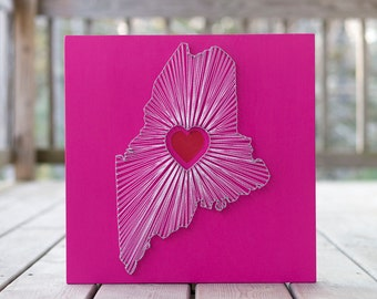 Heart of Maine String Art - Pink, White and Red