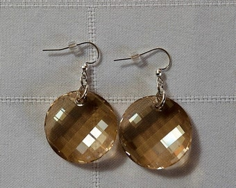 """Swarovski """"Twist"""",  28mm Golden Shadow Crystal Earrings/Gift/Women/All Occasion/Swarovski/Sterling Silver Earwires"""