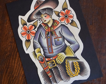 Cowgirl Tattoo Flash Print