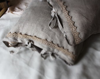Set of 2 flax linen lace shams-11 colors-linen pillowcases-Lace flax linen pillow covers- Lace pillow covers-Available sizes #Vintage Love#