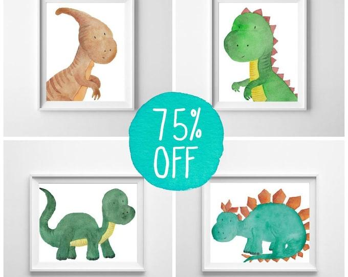 Dinosaur nursery prints, colorful wall art, Dinosaur print, Toddler room decor, baby nursery decor, dinosaur decor, watercolor prints DINO