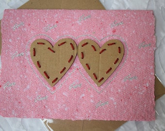 Homemade Recycled Love Card, Stitch Heart