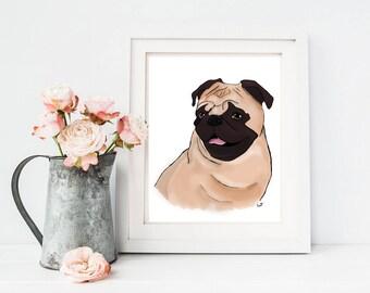 Pug, Pug Art, Dog Art, Art, Chic Art, Wall Art, Digital Art, 8x10