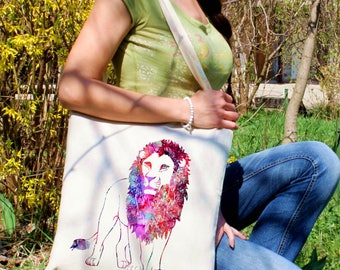 Lion tote bag -  Lion shoulder bag - Fashion canvas bag - Colorful printed market bag - Gift Idea