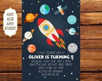 Planet Birthday Invitation, Space Themed Birthday Party Invitation, Planets Stars invitations,Kids Birthday Invite, Boy Birthday 178