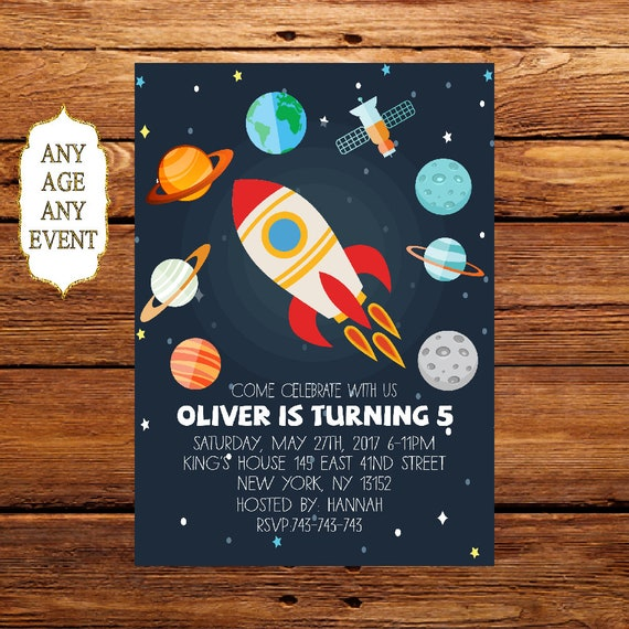 Planet birthday invitation space themed birthday party for Space themed stationery