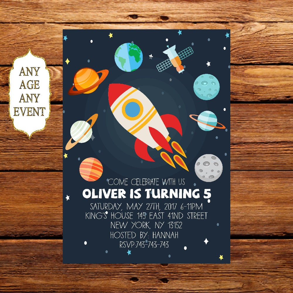 Planet Birthday Invitation Space Themed Birthday Party