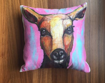 Deer Lucy. pillow cushion pink purple colourful. Woodland animal print