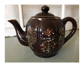 Hand Painted Brown Betty Teapot