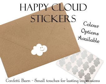 Happy Cloud Stickers - Baby Shower - Removable Vinyl - Party Invitations - Envelope Sealing Stickers - Planner Stickers #54