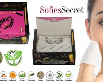 SofiesSecret Makeup Remover Wipes, Bamboo Makeup Remover Wipes, 100% Natural & Organic Wipes, Cruelty Free, Vegan - 20 Sheets