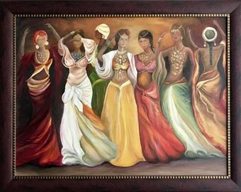 "Original Oil Painting On Canvas ""The Harem"" Size: 70cm x 90cm"