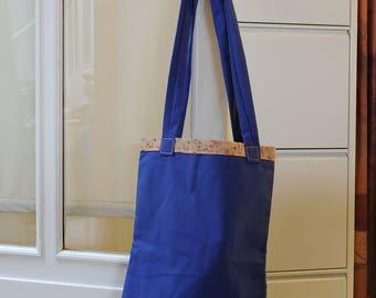 Canvas bag blue liberty lining