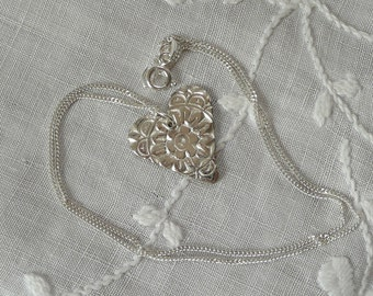 Silver heart pendent necklace. One of a kind handcrafted in Fine Silver (999)