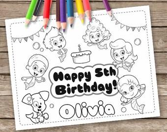 Bubble Guppies Digital 6 Coloring Pages, Birthday Wedding Activity Sheet, Bubble Guppies Printable, Bubble Guppies Birthday Party Favor
