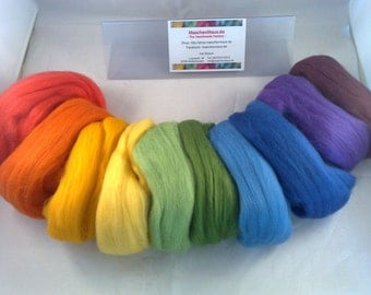 Merino mix 21 mic. combed fibres tops 100 g Rainbow colors - rainbow colors