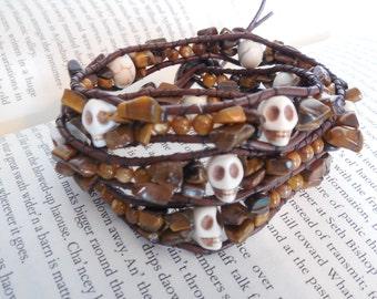 Brown Skull Three Wrap Bracelet