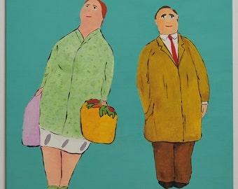 Unique image, male/female, acrylic on canvas, 60 x 80 cm