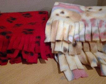 Pet themed fleece scarves paw prints, bunnies, bears