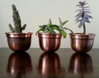 Handmade Solid Copper Plant Pots / Planters Set of 3