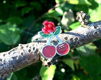 Rockabilly Cherry and Rose Ring 1950s Retro Kitsch