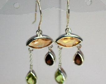loop Silver earrings set with citrine, Garnet, peridot