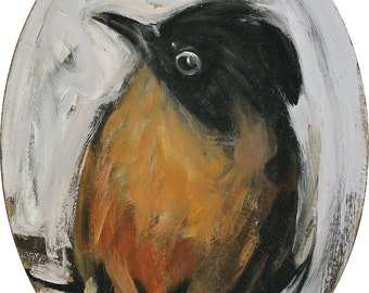 Robin-handmade oval Painting with acrylic technique by painter David P