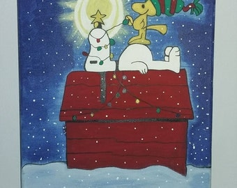 handmade winter Snoopy acrylic painting