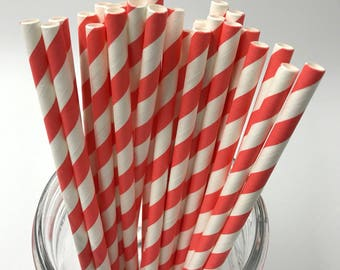 Peachy Coral Paper Straw Pack