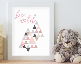 Be Wild, 11x14 Digital Download Prints, Wall Art, Girl Nursery, Rabbit Nursery, Playroom, Arbor Grace Collections