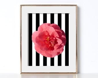 Black and White Noir Stripes Flower Art Digital Download Printable Art Feminist Art Feminism Tropical California Teen Art Abstract Print Zen