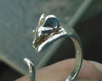 Strling Silver Adjustable Mouse Ring