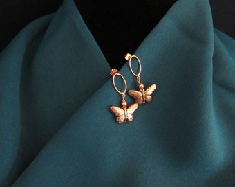 Copper Butterfly Earrings