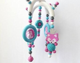 Fox Mobile pram pink Hedgehog turquoise