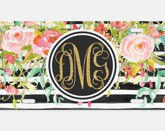 Personalized, custom license plate, Car Tag, Vanity license plate, Floral & Stripes Watercolor License Plate, Monogrammed License Plate