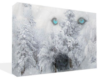 Spirit Wolf  With Blue Eyes In Trees  Canvas Print Ready To Hang Or Poster Print