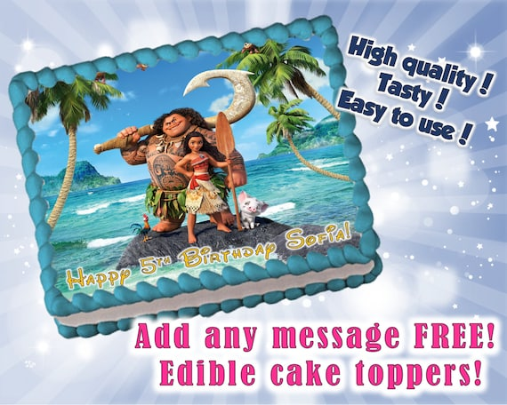 Moana Cake Cupcake Amp Cookie Toppers Frame And Stripes